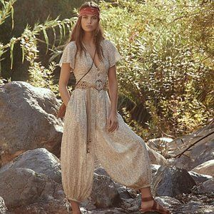 Free People Layla One Piece Jumpsuit Printed New